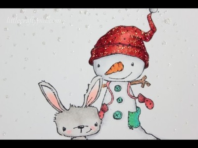 One layer Christmas card: Masking and Copic coloring