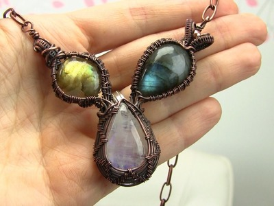 3 Stone Asymmetrical Wire Wrapped Pendant Tutorial.Demo (cabochon)