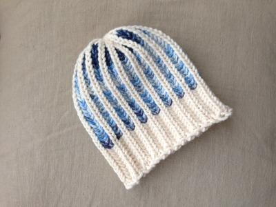Bicolor Brioche Stitch Hat Tutorial [Loom Knitting]