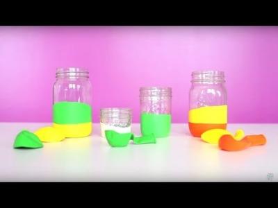 Craft Hack: Balloon Covered Mason Jars
