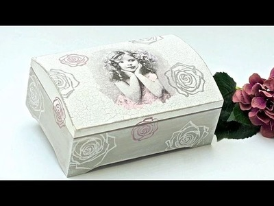 Decoupage box with a vintage girl  Tutorial  ---  DIY by Catherine