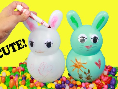 DIY EASTER Family FUN KIDS CRAFT Easter Bunny Decorate Crayola CANDY Jelly Bean Fun Zootopia Video