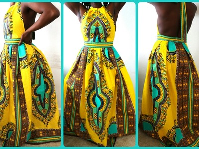DIY  HIGH NECK DASHIKI PRINT DRESS| HOW TO SEW A ZIPPER FOR SUPER BEGINNERS.