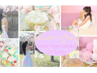 Easter. Spring Outfit Ideas Vegan Coconut Cupcakes DIY Bunnies