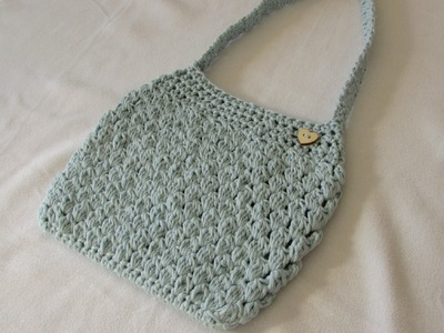 VERY EASY crochet puff stitch bag. purse tutorial