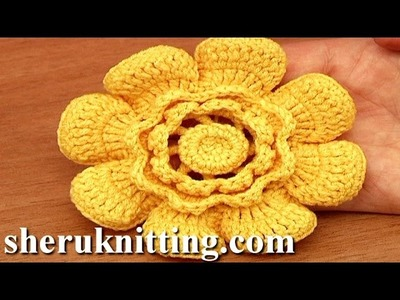 Crochet Flower With Cupped Petals Tutorial 95
