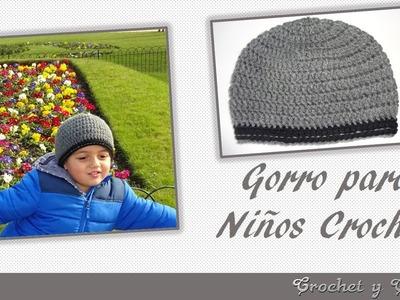 Gorro relieve a crochet ganchillo para niños