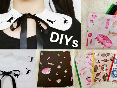 4 Back to School DIYs: DIY Cat Peter Pan Collar+DIY Sweets Iron on Pencil Bag + DIY Sweets Binders