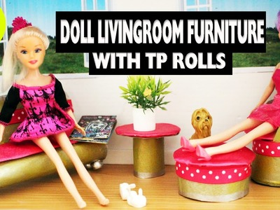 How to make doll furniture with toilet paper rolls - [livingroom] - Super Easy