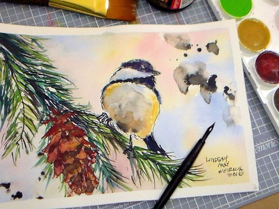 How to Paint a Chickadee in Pen & Ink and Watercolor FULL TUTORIAL. Grumbacher Watercolor Review