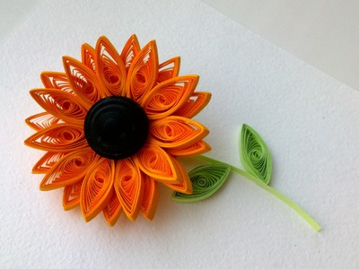 Quilling Flowers Tutorial, 3D quilling : How to make Quilling  Sunflower Flower-Paper Art Quilling.