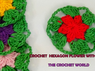 CROCHET HEXAGON FLOWER WITH LEAVES