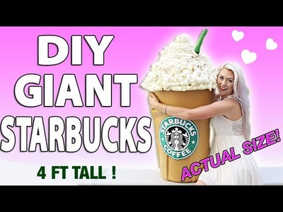 DIY GIANT STARBUCKS! HOW TO MAKE A 4 FT TALL FRAPPUCCINO.STORAGE BIN