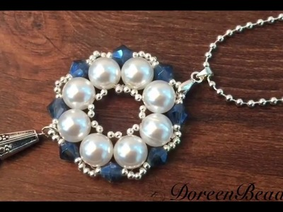Doreenbeads Jewelry Making Tutorial - How to Make Bead Snowflake Pendant Necklace