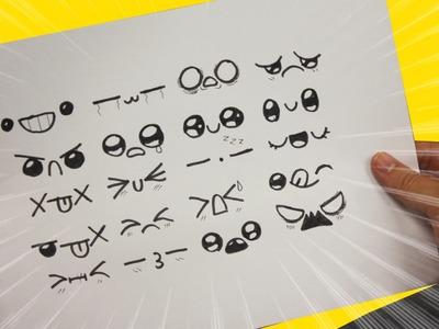 EXPRESIONES KAWAII PARA TUS DIBUJOS - Dibujos Kawaii faciles - How to draw expressions