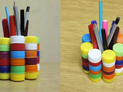 How to make a pencil holder using bottle caps