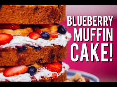 How To Make Delicious BUTTERMILK BLUEBERRY MUFFIN CAKE! No Mixer Needed!