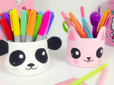 KAWAII ORGANIZER\ROOM DECOR (How to make a panda and a cat)EASY CRAFTS