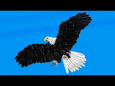Paper Quilling; How to make a beautiful eagle flying in the sky
