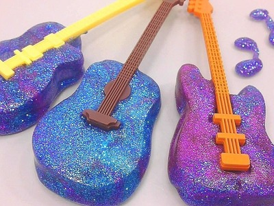 Wheels on the bus | How To Make Glitter Galaxy Guitar Clay Slime Freeze!! DIY | Surprise Toys