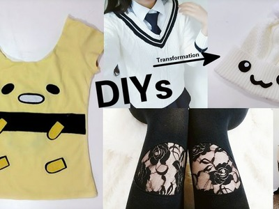 3 Sew.No Sew DIYs: DIY Lace Cut out Leggings + DIY Beanie Out of Sweater + DIY Gudetama T-shirt