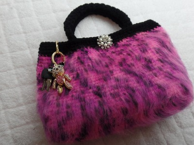 (How To #Crochet) (Furry #Handbag #Purse) with regular #yarn #TUTORIAL #294