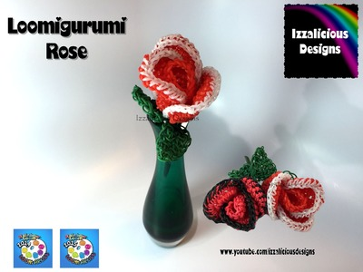 Rainbow Loom Loomigurumi Rose - crochet with loom bands
