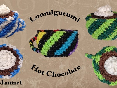 3D Cup Mug Hot Chocolate Coffee Loomigurumi Amigurumi Rainbow Loom Band Crochet