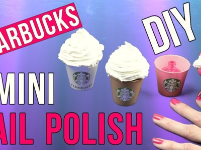 DIY Crafts: DIY Starbucks Mini Nail Polish-Miniature Cotton Candy Frap Nail Polish-Tiny DIY Tutorial