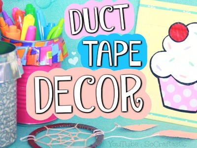 DIY Duct Tape Room Decor. Ruffle Pencil Holder, Painting, & Dream Catcher How To