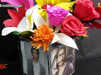 Photo frame Flower Vase out of DVD.Cd Cases | How to make best out of waste  | JK Arts 894