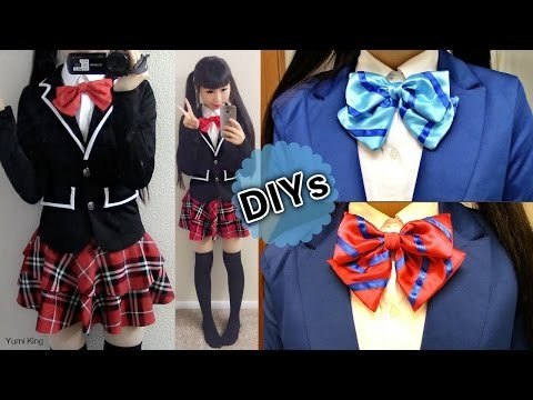 Back to School DIYs: DIY Daily Cosplay Japanese Uniform Jacket+ DIY Love Live Striped Bow Tie