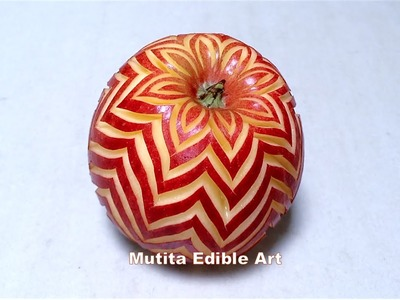 Apple | Repeat Petal Shape Design | Intermediate Lesson 40 | By Mutita Edible Art Of Fruit And Veget