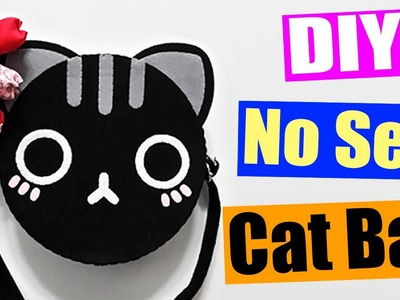 DIY Felt Cat Bag - How to make Animal Face Bag (NO SEW)