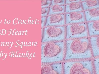 3D Heart Granny Square Baby Blanket