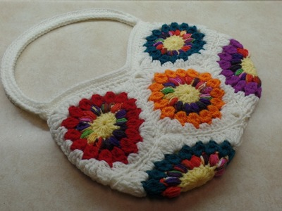How To #Crochet 8 Granny Square Handbag Purse #TUTORIAL #306