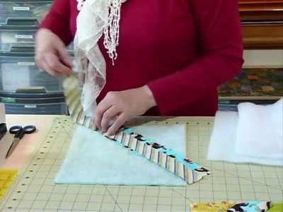 How to make a Quilt as you Go block with strips - Quilting Tips & Techniques 071