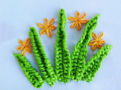 Hand Embroidery: Buttonhole bar leaves
