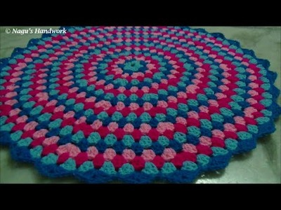 How to crochet a round granny rug part 3 of 3-Learn to crochet in Tamil By Nagu's  Handwork