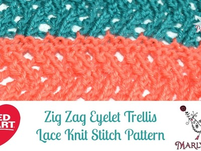Learn to Knit Zig Zag Eyelet Trellis Lace Knit Stitch Pattern