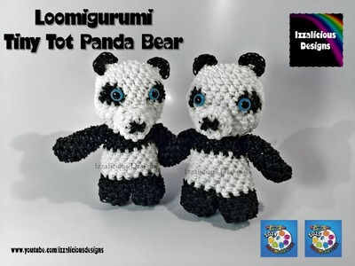 Rainbow Loom Loomigurumi Tiny Tot Panda Bear made w. Rainbow Loom Bands