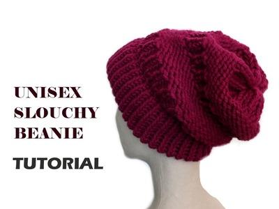 Unisex Slouchy Beanie Tutorial  [Loom Knitting]