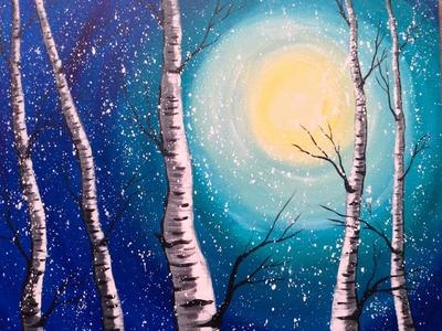 Beginner Acrylic Painting Class | Winter Birch Trees | #lovewinterart