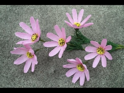 Cosmos flower with crepe paper
