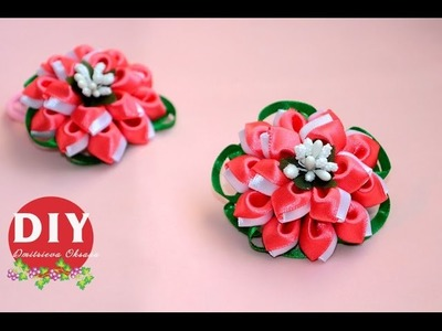 DIY.Kanzashi flower tutorial.scrunchy Kanzashi.flowers from ribbon