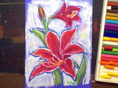 How to Draw an Oil Pastel Amaryllis Flower