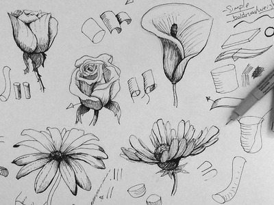 Pen & Ink Drawing Tutorial | How to draw flowers part 1