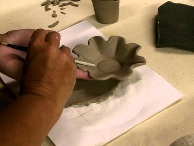 Day #8- Handbuilding Flower Tray & Leaf Lid Jar - 1LB of Clay 25 Ways Project