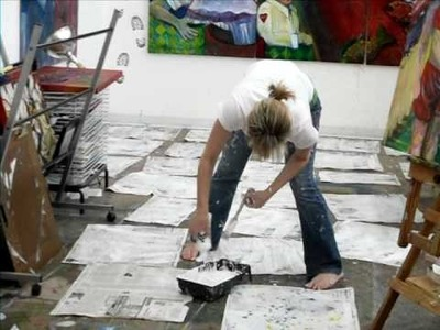 MG Stout In the Studio:  Barefoot and Painting