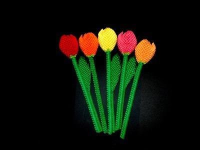 3D origami flower tutorial (3d origami tulip 1)